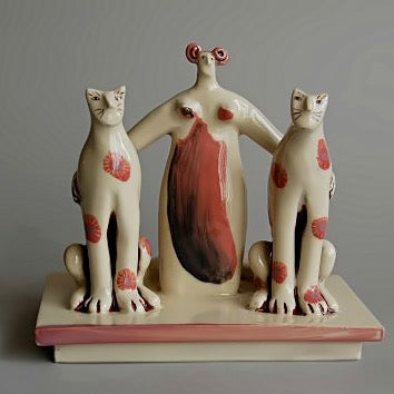 'Woman with two rather large cats' Ceramic Sculpture