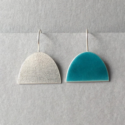 Odd Turquoise and Silver Half Oval Earrings