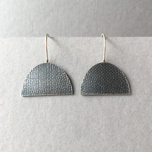 Oxidised Silver Half Oval Earrings