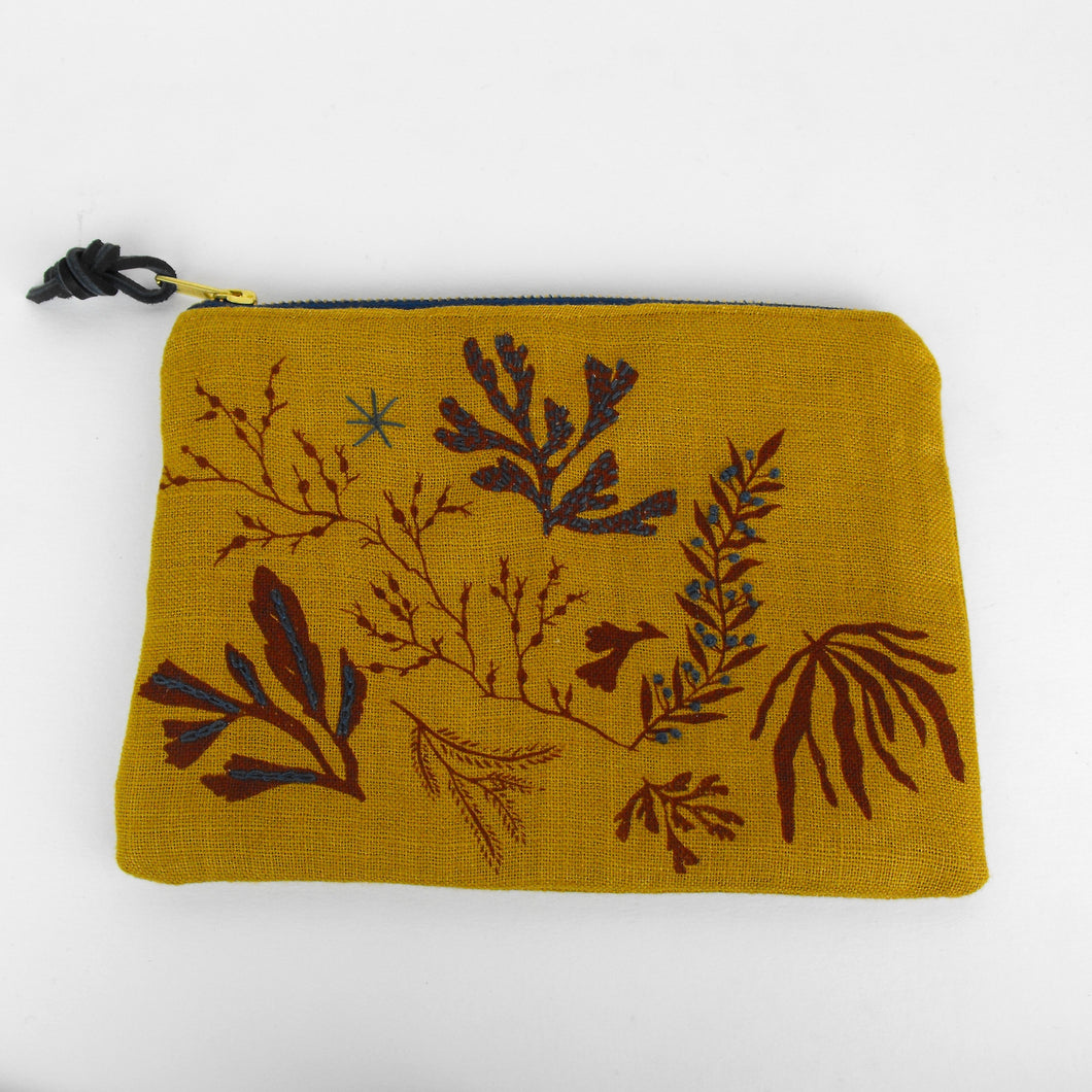 Mustard Embroidered Seaweed Pouch
