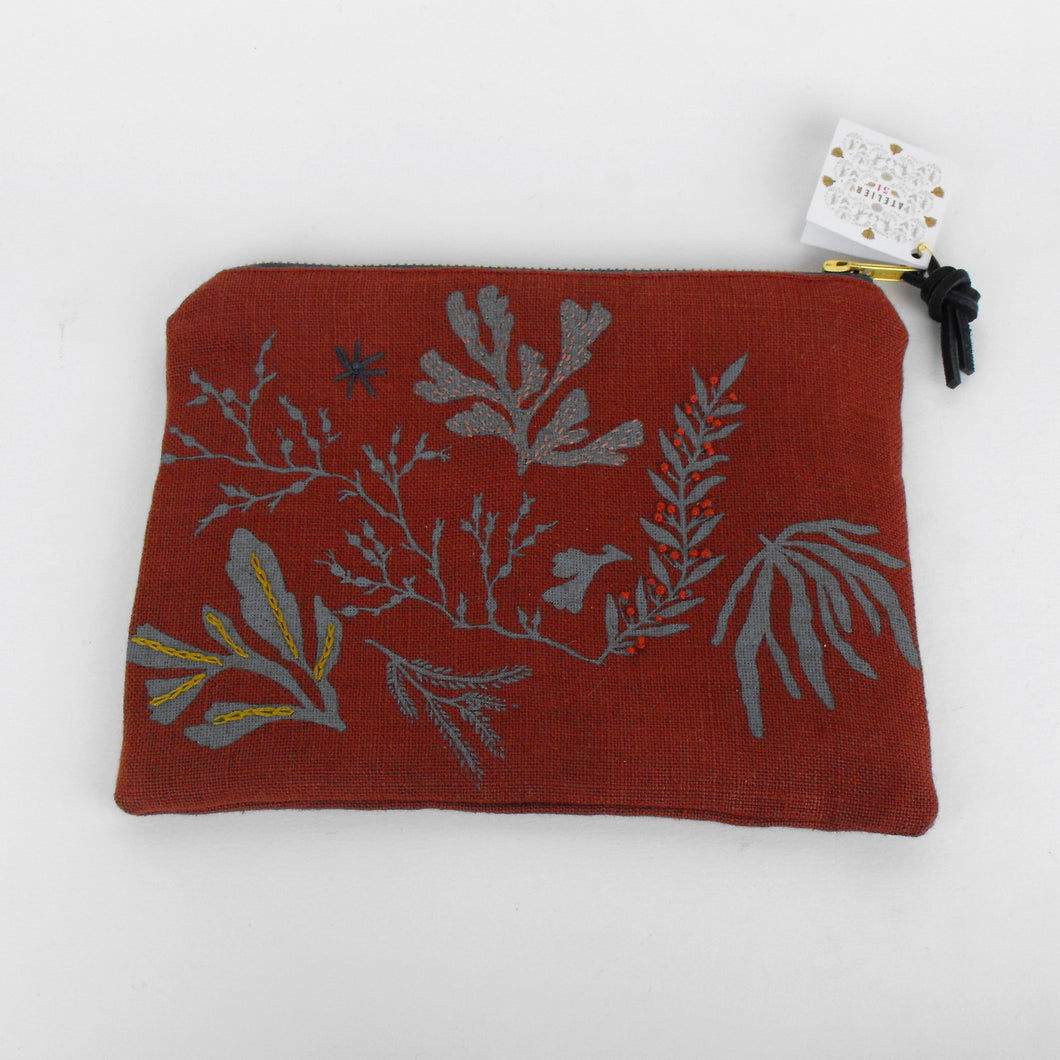 Rust Embroidered Seaweed Pouch