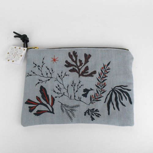 Blue Embroidered Seaweed Pouch