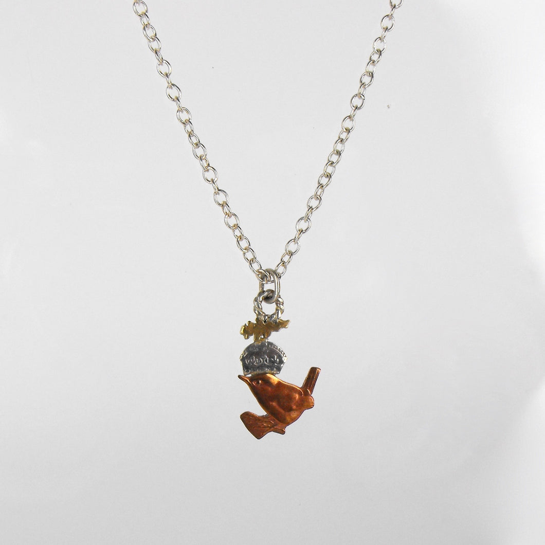 Wren, Crown and Oak Leaf Necklace