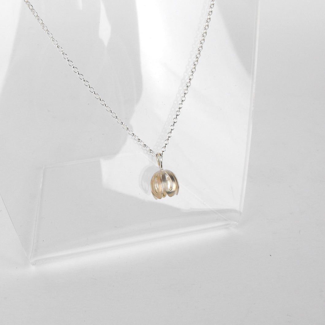Silver Outline Crocus Flower Necklace