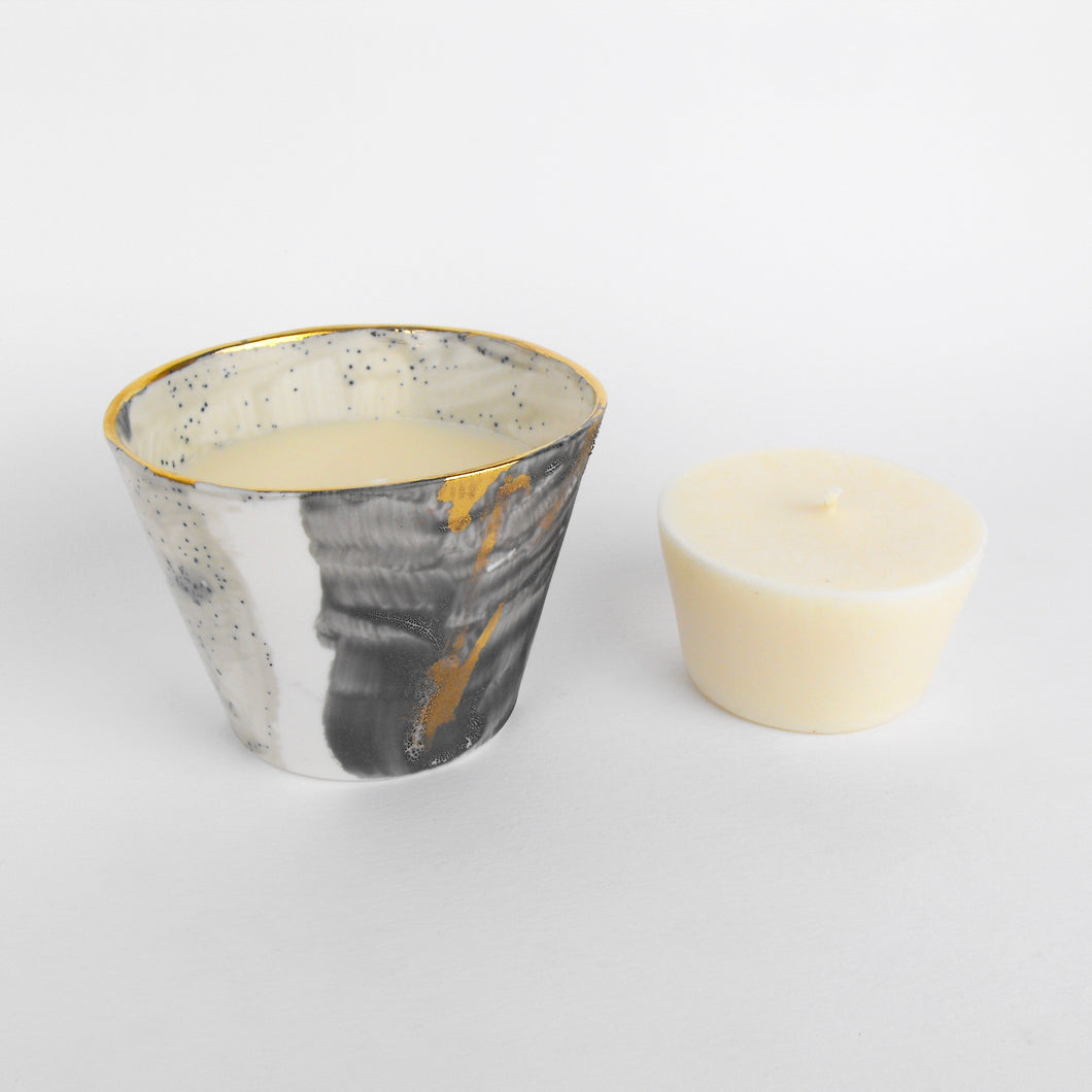 Gold Stripe Porcelain Candle Set