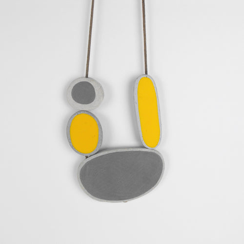 Yellow and Grey Shapes Necklace