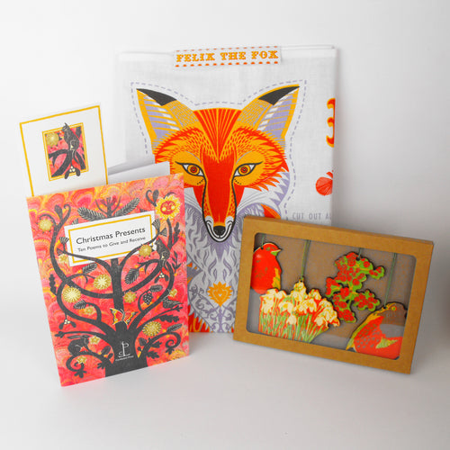 Festive Fox Gift - Cut & Sew Tea Towel, Poem Book & Deco Set