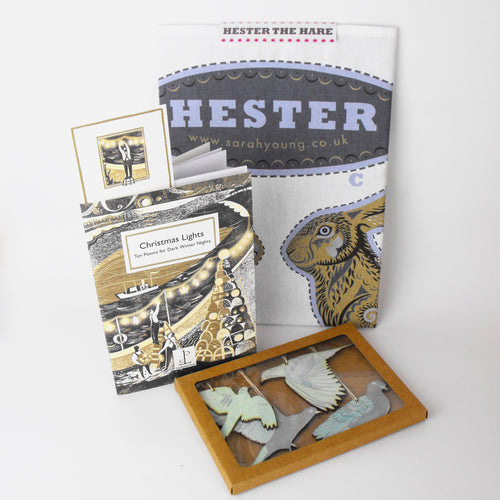 Festive Hare Gift - Cut & Sew Tea Towel, Poem Book & Deco Set
