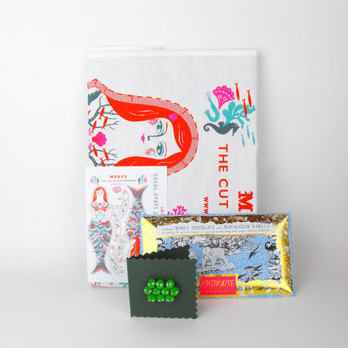 Meryl Mermaid Festive Gift - Cut & Sew Teatowel, Chocolate & Card