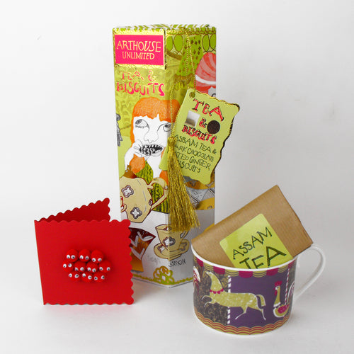 Cosy Christmas Tea Time Gift  - Sarah's cup, tea, biscuits & card