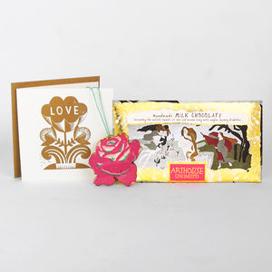 Golden LOVE Gift - Hand Printed Card and Decoration with Chocolate