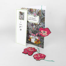 Load image into Gallery viewer, Flower Gift - Hand Printed Decoration with Poem Book Card