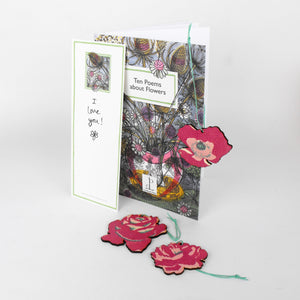 Flower Gift - Hand Printed Decoration with Poem Book Card