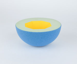 Blue Yellow Ceramic Vessel - Handmade Sculpture Piece