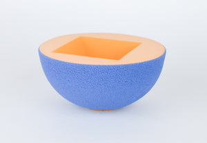 Blue Peach Ceramic Vessel - Handmade Sculpture Piece