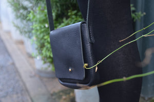Black Leather Cross Body Handbag