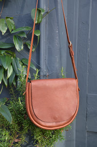 Tan Leather Cross Body Saddle Handbag