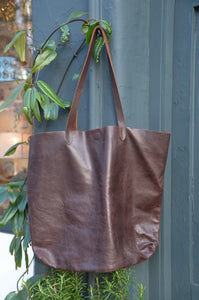 Dark Brown Leather Tote Handbag