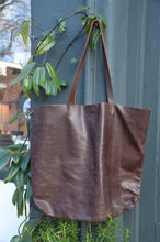 Load image into Gallery viewer, Dark Brown Leather Tote Handbag