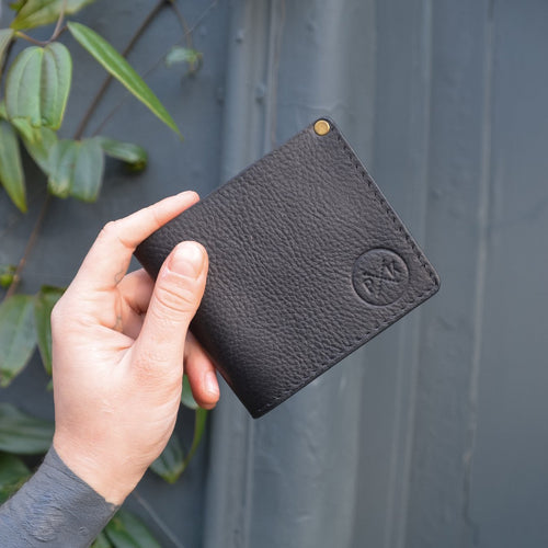 Men's Black Leather Bill Fold Wallet