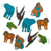 Load image into Gallery viewer, Jungle Animal Screen Printed Paper Garland
