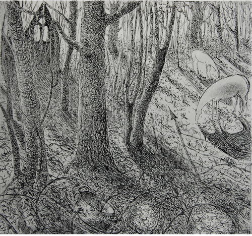 By the ruined chapel - etching