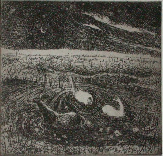 Horses bathing - etching