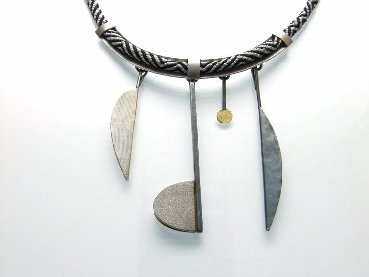 Black And White Kumihimo Silk Necklace