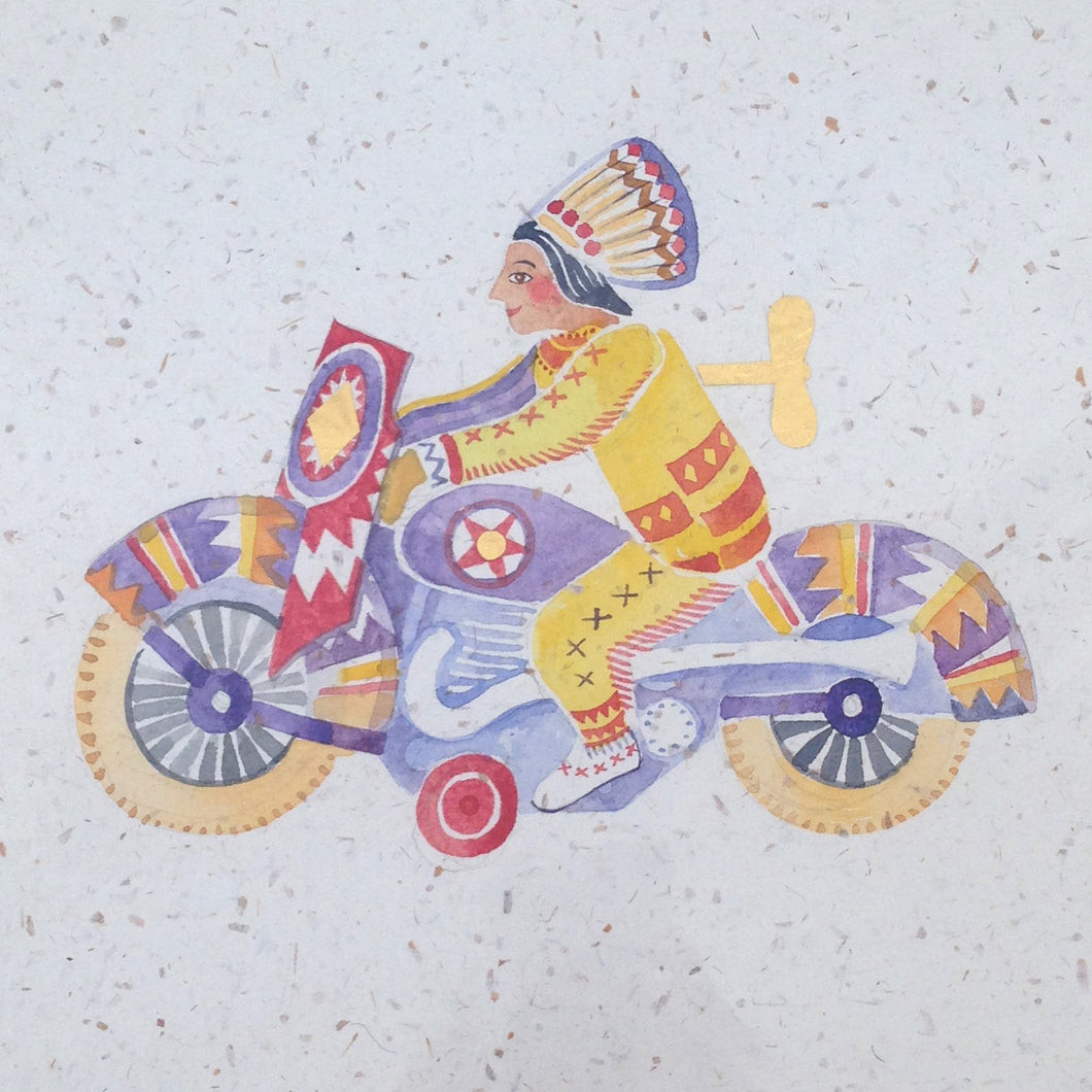 Tin toy - original painting with gold foil