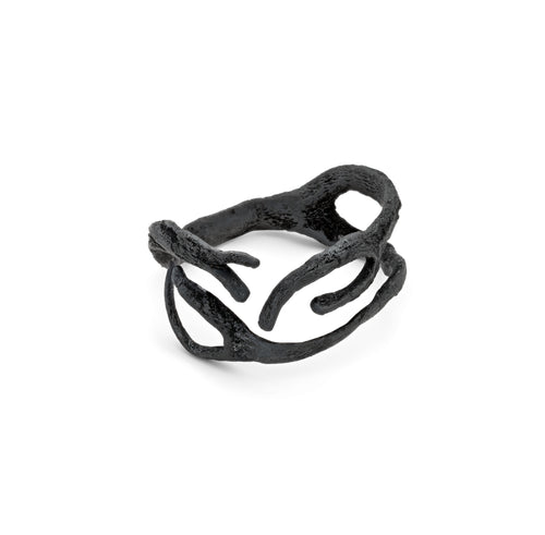 Long Seaweed Ring - oxidised