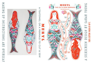 Meryl The Mermaid Tea Towel / Cloth Kit - A silkscreen design