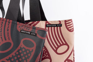 Macaroni Print Long Handle Tote Bag
