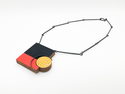 Navy, Red and Yellow Spot Necklace