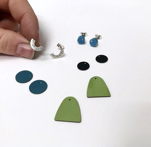 Black, Teal and Green Interchangeable Earrings