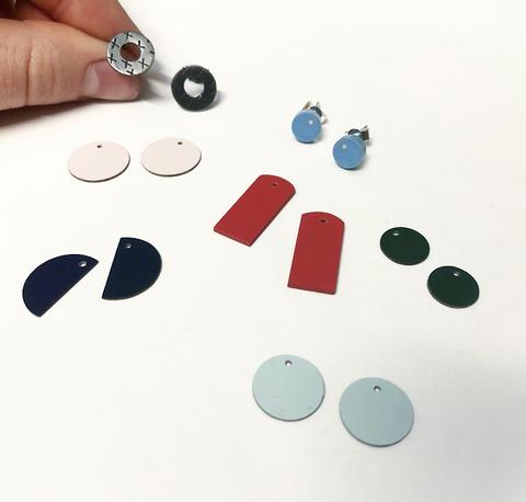 Red, Navy, Green, Pink and Pale Blue Interchangeable Earrings
