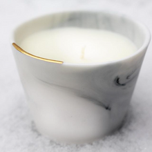 Load image into Gallery viewer, Black and Gold Marble Porcelain Candle Set