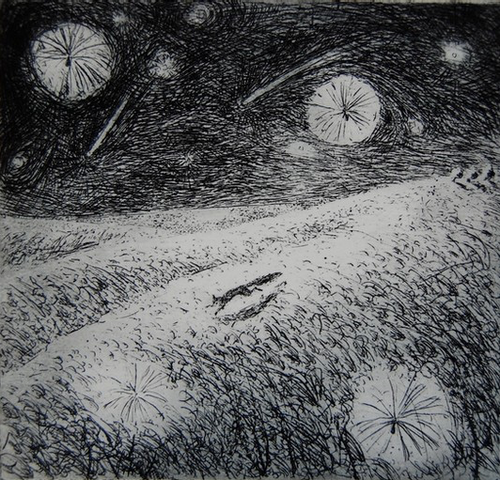 Thistledown - etching