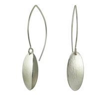 Load image into Gallery viewer, Long Silver Double Petal Earrings