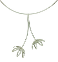 Load image into Gallery viewer, Silver Outline Fritillaria Necklace