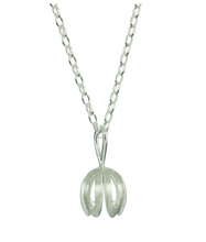 Load image into Gallery viewer, Silver Outline Crocus Flower Necklace
