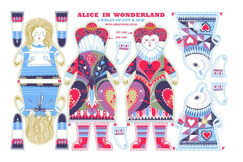 Alice in Wonderland Tea Towel  / Cloth Kit - A silkscreen design