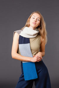 Colour Block Lambswool Stripy Scarf