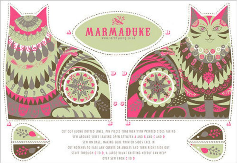Marmaduke the Cat Tea Towel / Cloth Kit - A silkscreen design