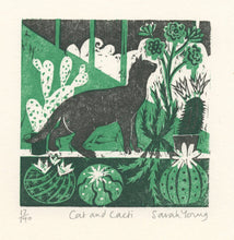 Load image into Gallery viewer, Cat and Cacti - Woodcut Print
