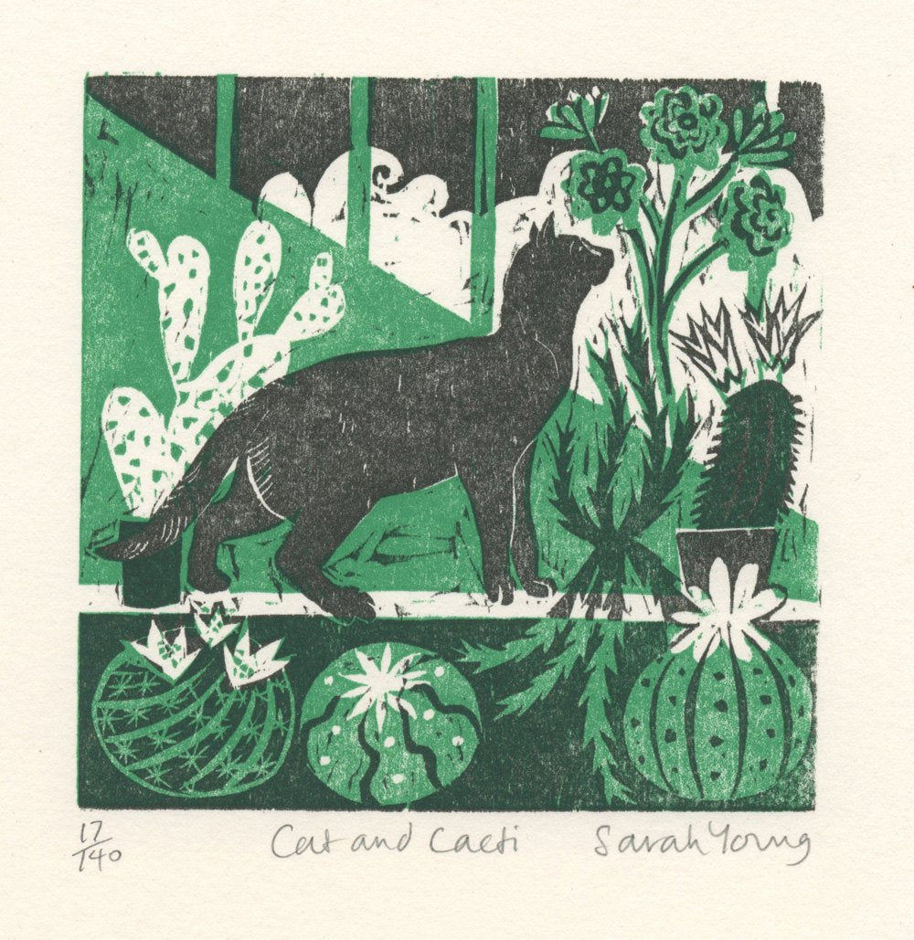 Cat and Cacti - Woodcut Print