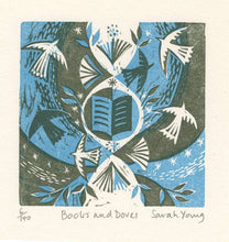 Load image into Gallery viewer, Books and Doves - Woodcut Print