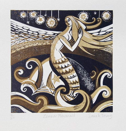Zennor Mermaid - Relief / Letterpress Print