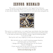 Load image into Gallery viewer, Zennor Mermaid - Relief / Letterpress Print