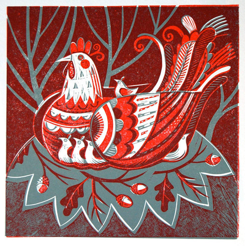 Hen and Chicks - Relief / Letterpress Print