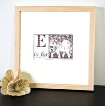 Load image into Gallery viewer, E is for Elephant - Alphabet Silkscreen Print